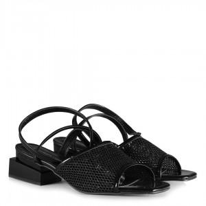 Siyah Rugan Çift Ökçeli File Topuklu Ayakkabı Sandalet