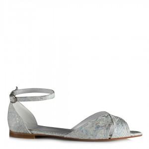 Beyaz Baskılı Kemerli Sandalet