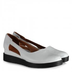 Beyaz Dolgu Topuk Ayakkabı Hakiki Deri