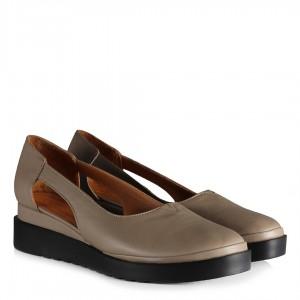 Dolgu Topuk Ayakkabı Hakiki Deri Vizon Rengi