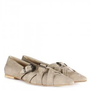 Ten Süet Babet Ayakkabı  Tokalı