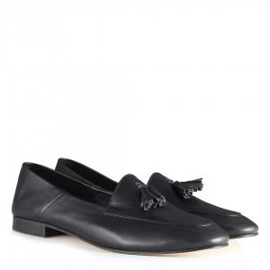 Siyah Hakiki Deri Loafer Ayakkabı Püsküllü