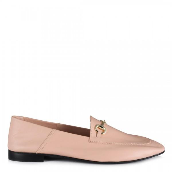 Pudra Hakiki Deri Zincirli Loafer Ayakkabı