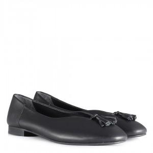 Hakiki Deri Düz Ayakkabı Babet Siyah Püsküllü