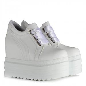 Spor Gelin Ayakkabısı Beyaz Yüksek Topuklu