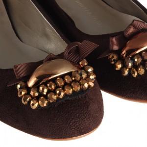 Babet Ayakkabı Kahverengi Süet Tokalı