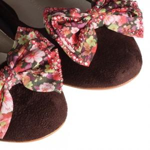 Kahverengi Babet Ayakkabı Renkli Tokalı