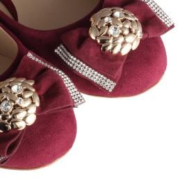 Taşlı Babet Ayakkabı Bordo Süet