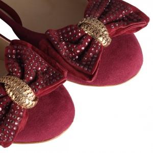Fiyonklu  Bordo Babet Ayakkabı
