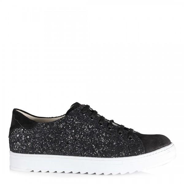Bağcıklı Spor Ayakkabı Siyah Simli