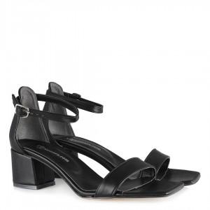 Topuklu Sandalet Ayakkabı Siyah Tek Bantlı
