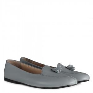 Gri Hakiki Deri Babet Ayakkabı