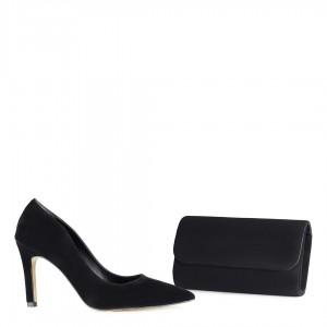Stiletto Ayakkabı Siyah Süet Çanta Takımı