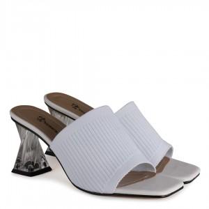 Topuklu Terlik Streç Beyaz Renk