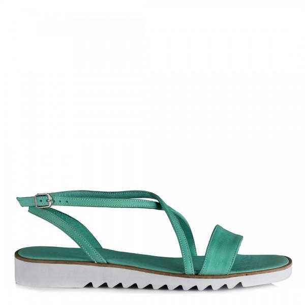 Hakiki Deri Sandalet Su Yeşili Kemerli