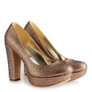 Platform Taşlı Ayakkabı Bakır