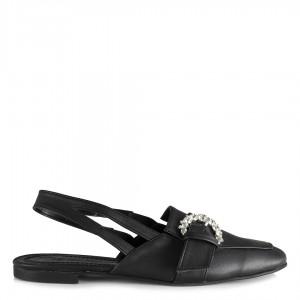 Siyah Arkası Açık Tokalı Düz Ayakkabı