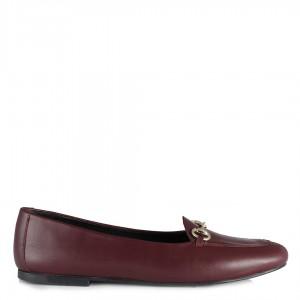Bordo Ayakkabı Babet  Deri Tokalı