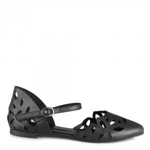 Siyah Açık Babet Ayakkabı Kemerli