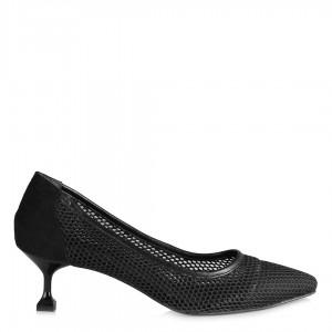 Siyah Stiletto Fileli Az Topuklu