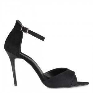 Açık Stiletto Ayakkabı Kemerli Siyah