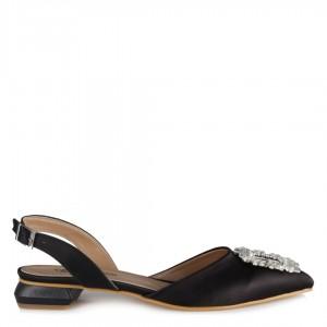 Babet Ayakkabı Siyah Saten Taşlı