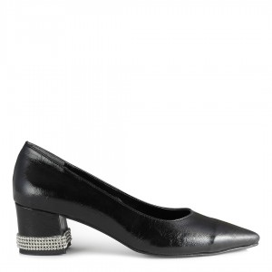 Siyah Stiletto Kalın Topuk Taşlı