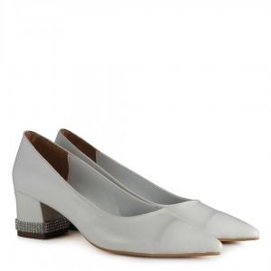 Stiletto Kalın Topuk Taşlı Beyaz Renk