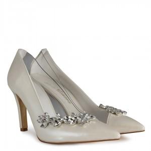 Nikah Ayakkabısı Kırık Beyaz Taşlı Stiletto
