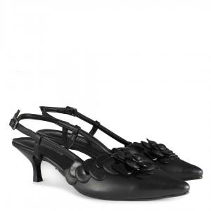 Siyah Stiletto Kısa Topuklu Çiçek Arkası Açık