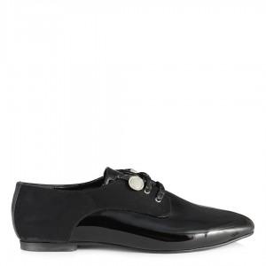 Siyah Rugan Süet Düz Ayakkabı Bağcıklı