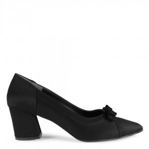Siyah Süet Fiyonklu Topuklu Ayakkabı Stiletto