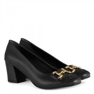 Topuklu Ayakkabı Siyah Dore Tokalı