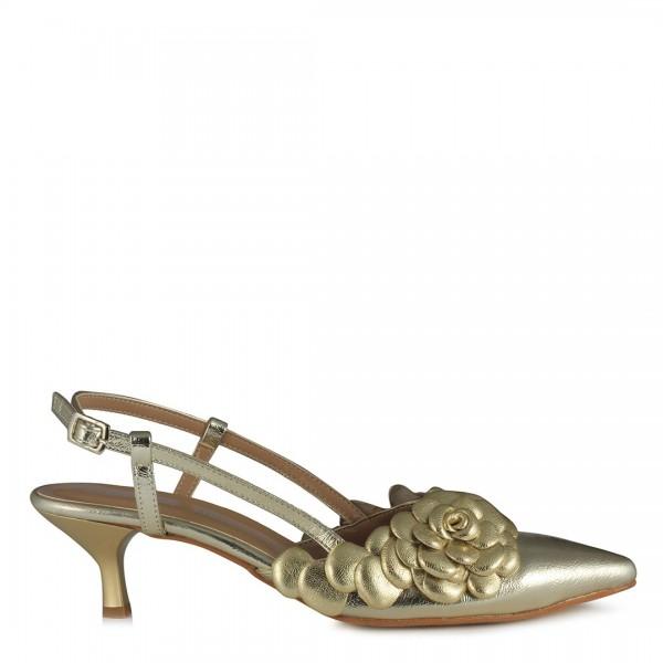 Stiletto Kısa Topuklu Dore Çiçekli Ayakkabı