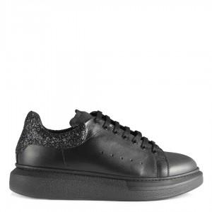Spor Ayakkabı Siyah Hakiki Deri Cam Kırığı Detaylı