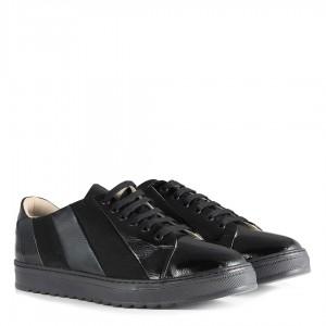 Bağcıklı Siyah Rugan Süet Spor Ayakkabı