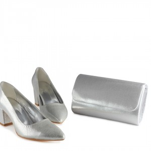 Stiletto Ayakkabı Lame Yaldızlı Az Topuk Çanta Takım