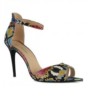 Renkli Yılan Kemerli Açık Stiletto Ayakkabı