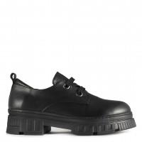 Siyah Hakiki Deri Ayakkabı Kapalı Bağcıklı