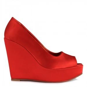 Kırmızı Saten Dolgu Topuk Ayakkabı