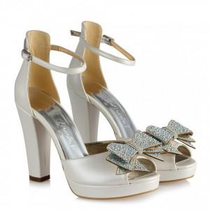 Gelin Ayakkabısı Kemerli Topuklu Fiyonklu