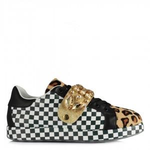 Hakiki Deri Spor Ayakkabı Siyah Beyaz Leopar