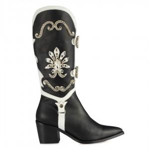 Kovboy Çizme Siyah Beyaz Hakiki Deri