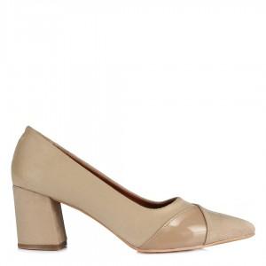 Topuklu Ayakkabı Stiletto Vizon Süet Rugan