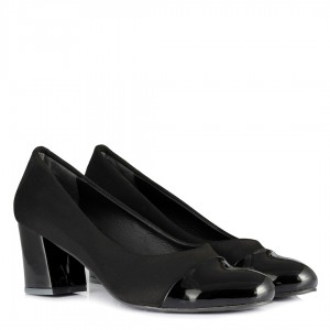 Siyah Topuklu Ayakkabı Süet Rugan Detaylı