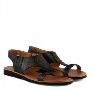 Sandalet Desenli Hakiki Deri Siyah