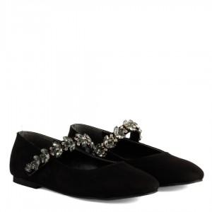 Siyah Süet Babet Ayakkabı Taşlı Kemerli