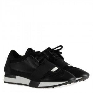 Spor Ayakkabı Bağcıklı Rahat Taban Siyah