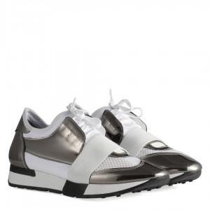 Spor Ayakkabı Beyaz Metalik Bağcıklı Rahat Taban
