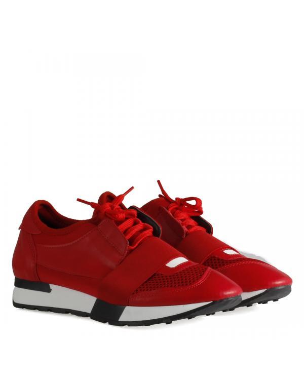 Spor Ayakkabı Kırmızı Bağcıklı Rahat Taban